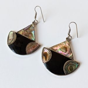 Jewelry - Vintage Alpaca Silver And Abalone Shell Earrings
